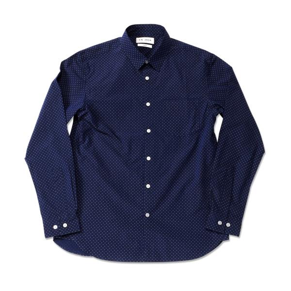 【T.N JACK】(ティーエヌジャック) Typewriter Dot Shirts (ネイビー) / タイプライター ドットシャツ メンズ アメカジ渋谷 バックドロップ 渋谷の老舗アメカジショップ back drop 日本製 メイドインジャパン 送料無料