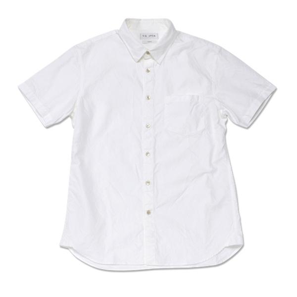 【T.N JACK】(ティーエヌジャック) One Wash Oxford S/S Shirts (ホワイト) / ワンウォッシュ オックスフォード ショートスリーブ シャツ メンズ渋谷 バックドロップ 渋谷の老舗アメカジショップ back drop 日本製 メイドインジャパン 送料無料