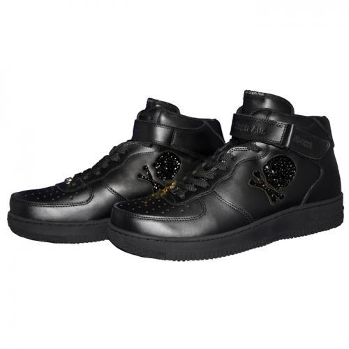 【送料無料】Ain Force 1 MID cut Swarovski(B-J)/24・26.5・28/全一色/靴 スニーカー ブラック ミッドカット フォースワン バッシュ スカル スワロフスキー カジュアル ストリート スポーツ