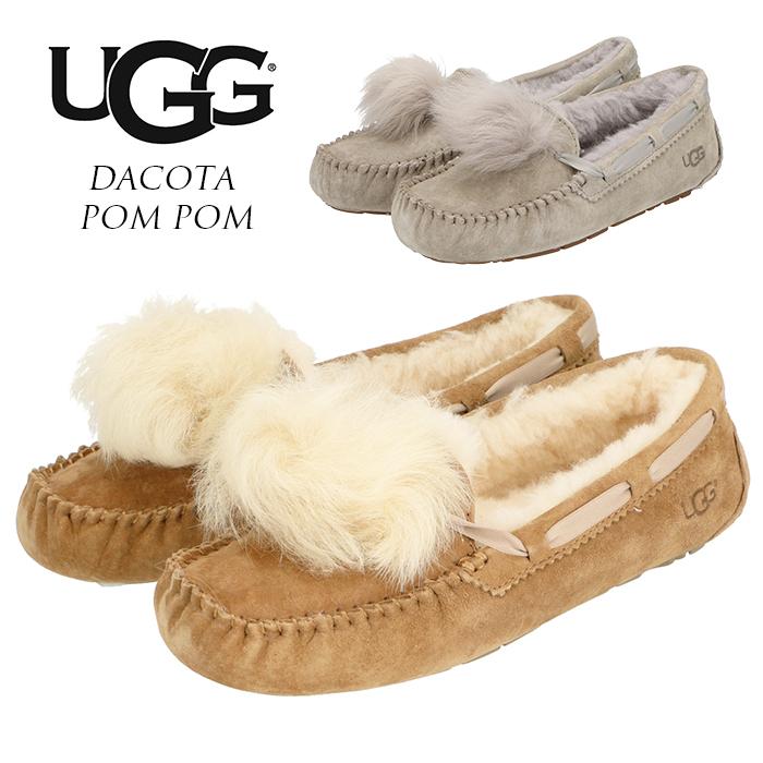 UGG モカシン レディース アグ 好評 ブランド スリッポン おしゃれ DACOTA POM POM ダコタ ポンポン 1019015 ファー スウェード ローファー ボア 内ボア シューズ 女性 冬靴 婦人靴 約 22cm 約 23cm 約 24cm 約 25cm 約 26cm かわいい
