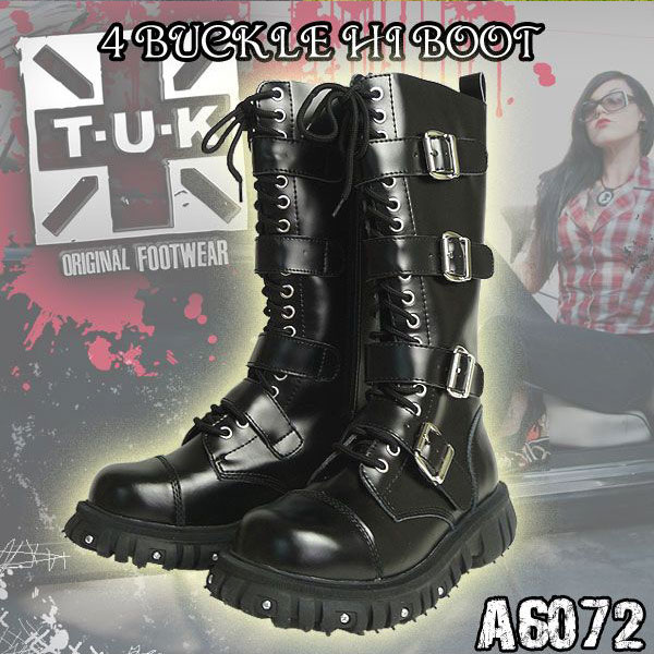 TUK 4 通販/正規品 おすすめ シューズ・靴 定番 パンクなスニーカー・ラバーソール A6072 BOOT HI BUCKLE