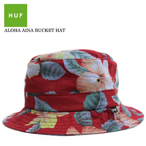 666c7a51b64f36 HUF Hough bucket Hat floral staggered pattern Hat Cap Aloha red Hawaii  pattern men's women's street ...