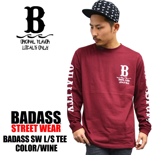 Long sleeve BADASS vadas SW Ron t wine Burgundy mens ladies tops plain fashion  hip hop ... 6d4eaa7950