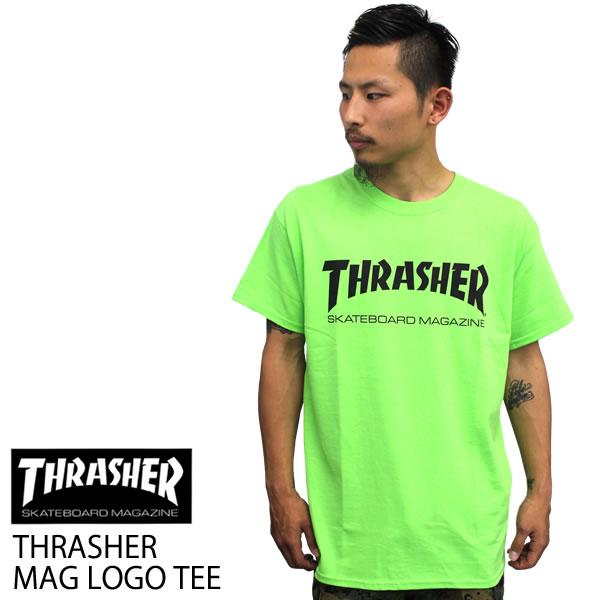 9741ca23f3da Even larger sold THRASHER slasher short sleeve T shirt Thrasher logo men s T  shirt TH8101 lime green mens women s briskly size blouson plain sweatshirts.