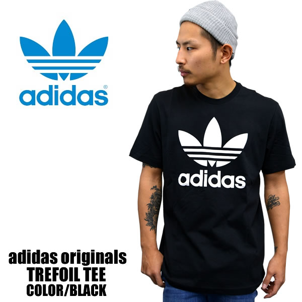 166f058a5 Adidas originals short sleeve T shirt TREFOIL TEE trefoil T shirt black  j8829 skater men s casual brand women s dance costume fashion