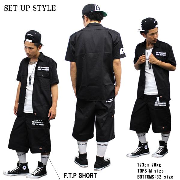 Dickies LA 디 키즈 F.T.P FUCK THA POLICE 블랙 검정 워크 셔츠 반 지정 워크 셔츠 큰 힙합 패션 B 계 HIPHOP 남성 의류 셔츠 워크 셔츠 맞춤 디 키즈 건장 롱 슬리브 간단