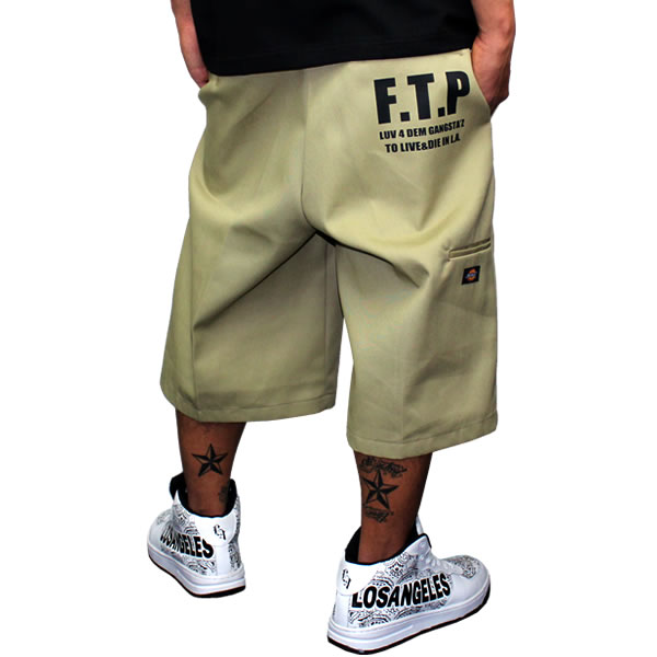 Dickies Dickies LA Los Angeles shorts shorts mens F.T.P efty Pier thirteen 13 khaki work pantsuchinopan lowrider men's women's fashion work wear HIPHOP B series Street adult dance costumes 20s 30s 40s King
