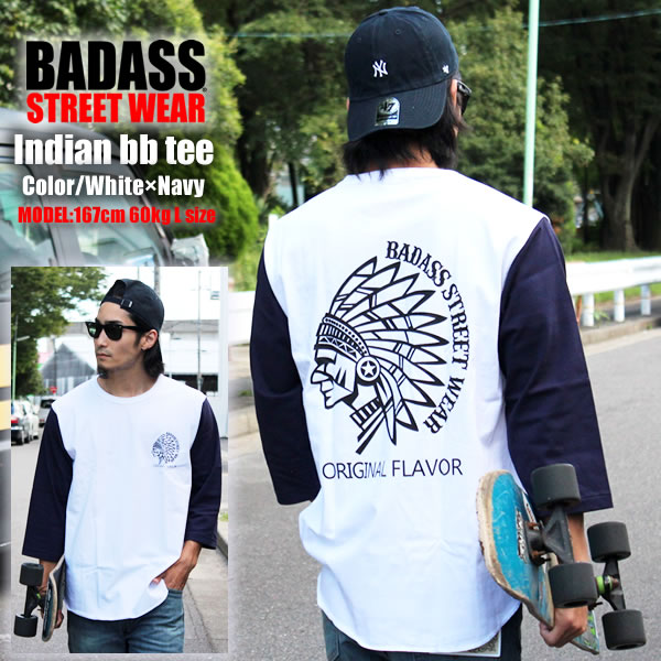 eeb59536e Baseball T shirt BADASS vadas 7-sleeves T shirt native Indians BASEBALL TEE  White ...
