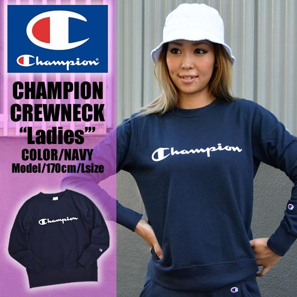 173086a2426f Champion champion trainer women's ladies tops fashion sweat suet outerwear  women's crewneck Navy Navy logo back hair casual sports sporty gym Yoga ...