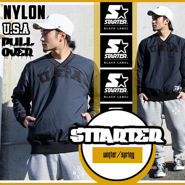 【STARTER BLACKLABEL】スターター ブラックレーベル ジャケット ナイロン プルオーバー メンズ ロゴ刺繍 『ブラック』ストリート ファッション ヒップホップ スポーツ ウィンドブレーカー アウター あす楽 即納 一部例外