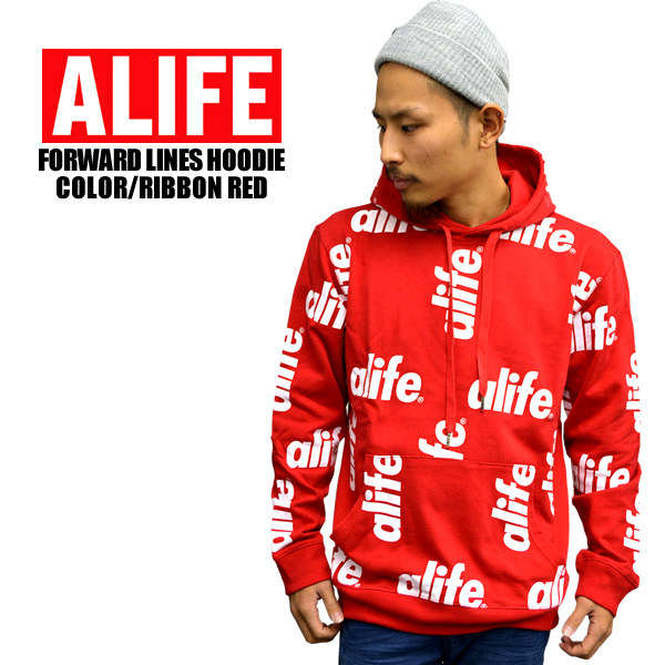 ALife artificial ALIFE FORWARD LINES HOODIE red x white sweat Parker food trainer logo pattern length sleeves printed Tops Street men's women's men's genuine, large size brand overseas
