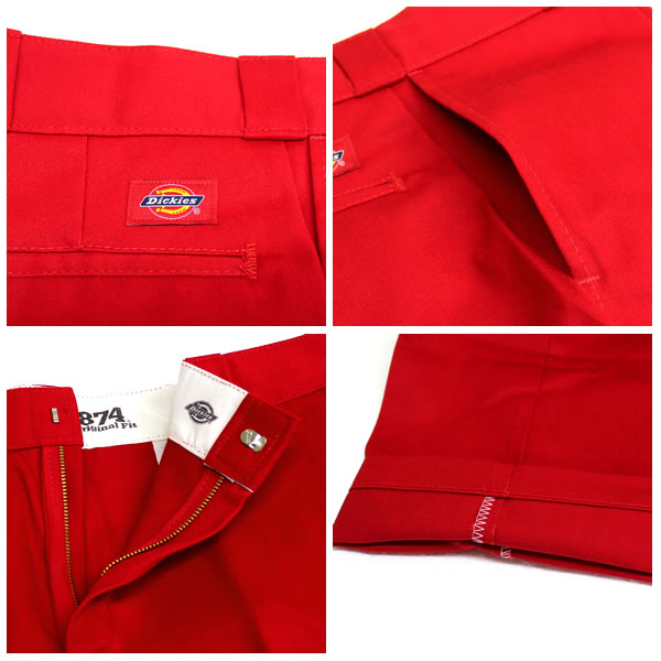 Dickies 디 키즈 874 화이트 メンズボトムス 워크 팬츠 레드 빨강 작업복 hiphop 팬츠 남성 스트리트 패션 치 큰 크기