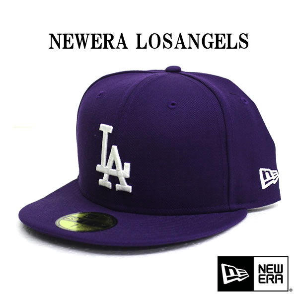 NEWERA Cap new era 59 FIFTY Los Angeles Dodgers purple x white fashion  dance costume Street B- 583b1e12ff2