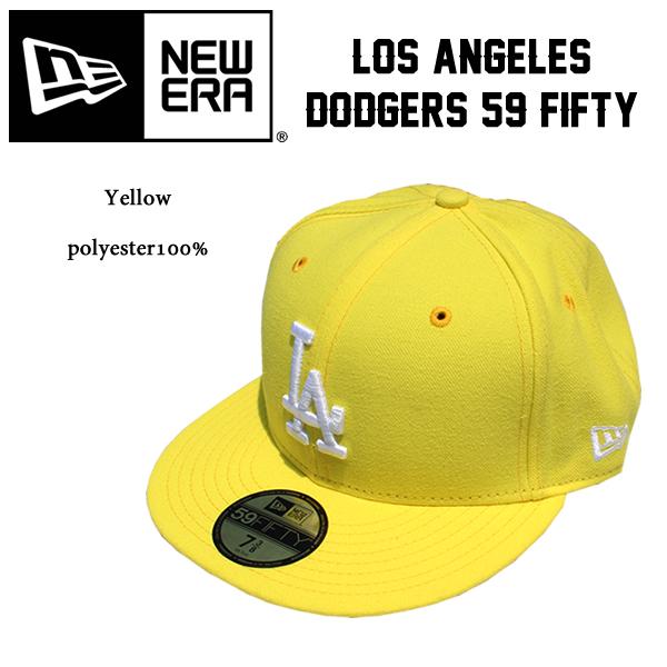 NEWERA new era Cap Hat 59FIFTY Los Angeles Dodgers yellow   white fashion  dance costume Street B- dd80f05c765