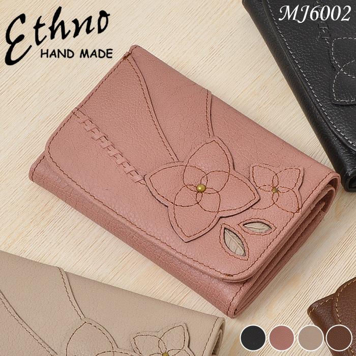 二つ折り財布 レディース 本革 ETHNO エスノ コサージュ 多収納 上品 mj6002 婦人 送料無料