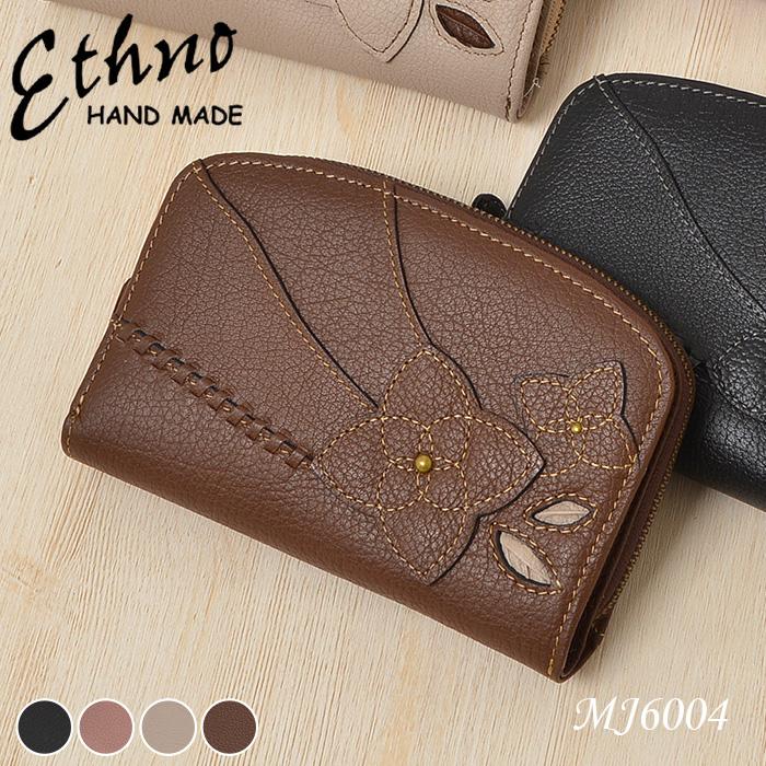 二つ折り財布 レディース 本革 ETHNO エスノ コサージュ 多収納 上品 mj6004 レディース 婦人 送料無料