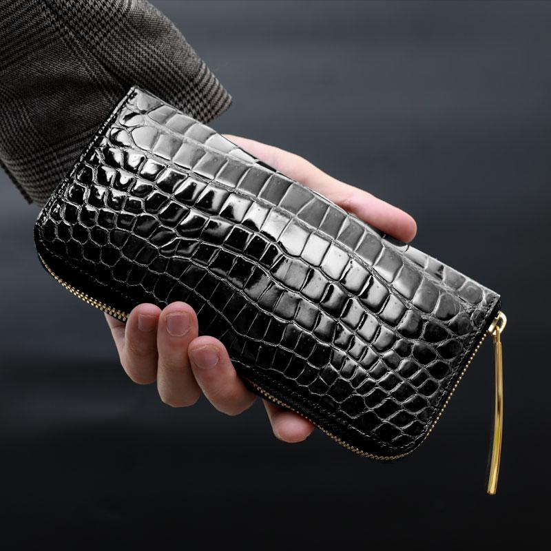クロコダイル 長財布 メンズ【池田工芸】Crocodile Smart Long Wallet クロコダイル スマートロングウォレットW ワニ革 艶あり 紫綬褒章受章 【次回出荷日11月12日頃】