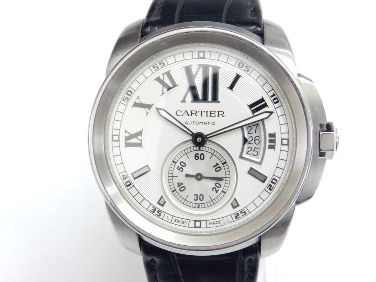 【中古】カルティエ/Cartier カリブル ドゥ カルティエ 3389 メンズ 自動巻き 裏スケ シルバー文字盤 純正Dバックル/革ベルト 腕時計