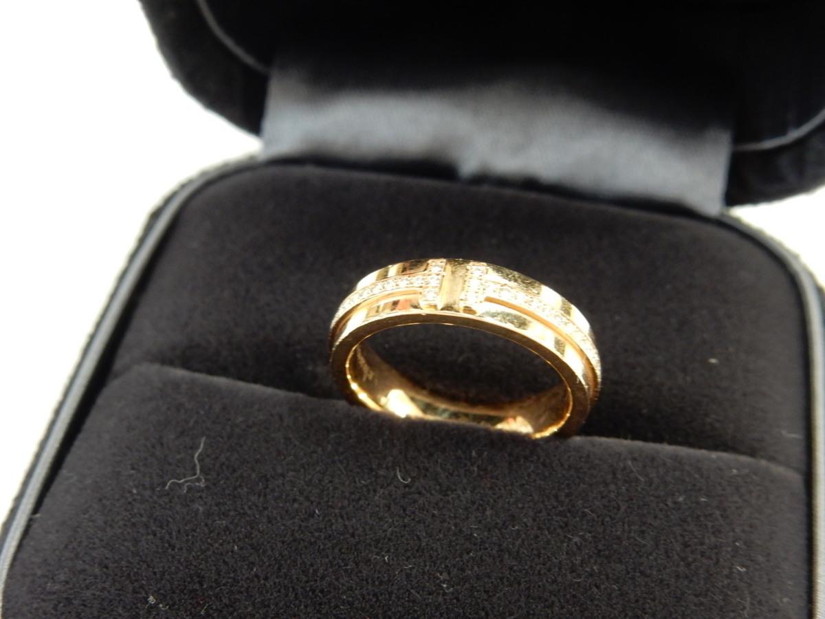 Tiffany & Co./ティファニー T TWO ダイヤモンド リング ナロー フルエタニティ K18PG/ピンクゴールド 指輪 (約)6号【中古】