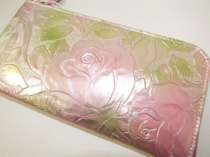 [日本製]ARUKANアルカン1392303フローラ 牛革 バラ柄 花柄 型押し 箔加工 Lファスナー 長財布 敬老の日 母の日 ギフト プレゼント