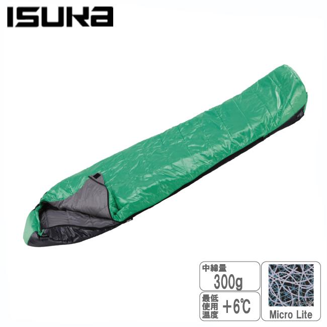 イスカ 105630-アルファーライト300X-グリーン 化繊寝袋【ISUKA】化繊シュラフ マイクロライト スリーピングバッグ 寝袋 キャンプ用品 登山用品