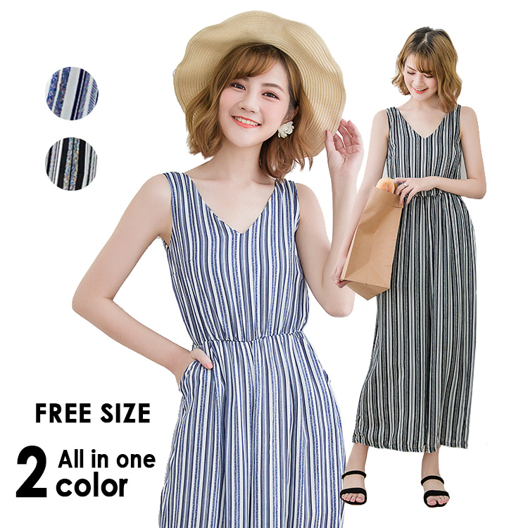 83eed5b3291e FAVORI: The salopette all-in-one underwear Lady's linen stripe ...