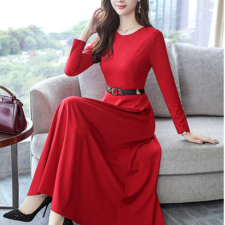 Beauty Maxi Dress Elegant Slim Party Dress With The Dress Long Sleeves Lady S Flare Dress Wedding Ceremony Long Maxi Dress Big Size Adult Refined