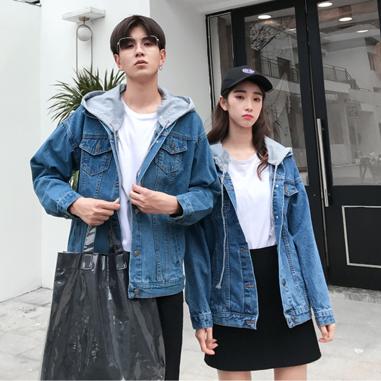 41f1b6e852 The size hat demountability that denim jacket couple pair look couple  matching clothes matching ペアジャケットジージャンアウターフード G Jean jacket Lady's ...