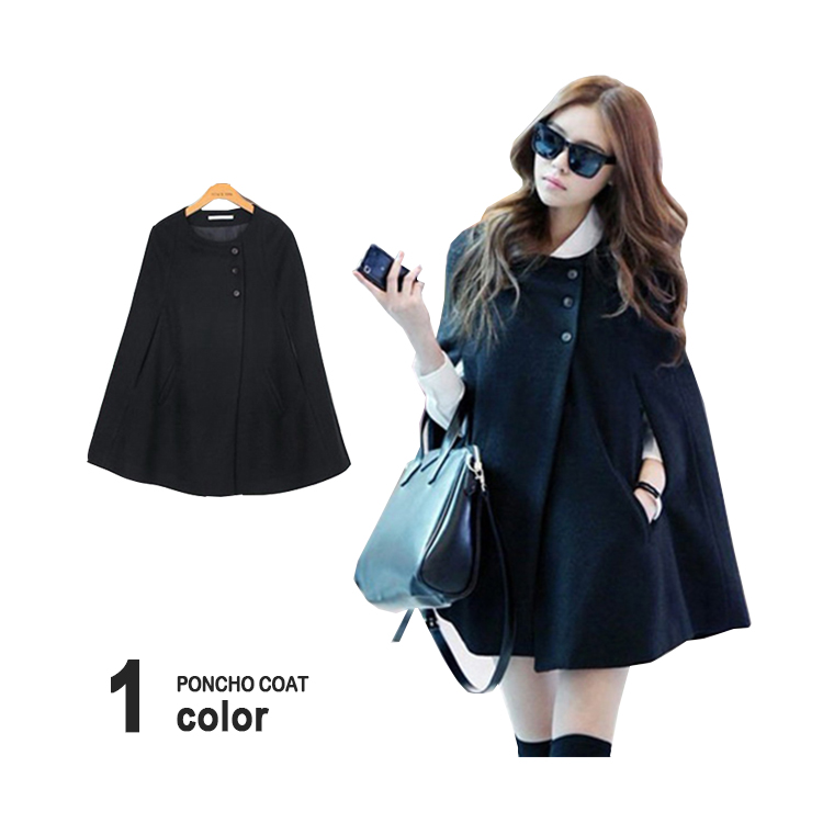 Favori Mantle Coat Poncho Coat Ladys Long Poncho Coat Mantle Black