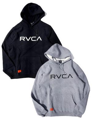 1万円以上で送料無料 ロゴ フーディー プルオーバー パーカー トップス メンズ ルーカ RVCA 割り引き _FAIR_e HOODIE グレー BIG ブラック -2.COLOR- S-L 買物