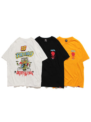 1万円以上で送料無料 好評受付中 DONUTS 45 Tシャツ ロゴ 半袖 プリント ユニセックス 男女兼用 メンズ レゲエ T-SHIRT イエロー グラフィック ドーナツフォーティーファイブ ブラック M-XXL ホワイト TAKE _FAIR_t オープニング 大放出セール OVER