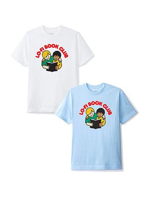 春の新作 1万円以上で送料無料 Lo-Fi Tシャツ メンズ M-XLサイズ ライトブルー 年中無休 ホワイト 半袖 CLUB ローファイ プリント BOOK TEE -2.COLOR- グラフィック