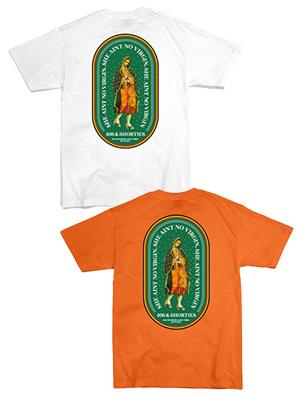 1万円以上で送料無料 半袖 Tシャツ TEE ストリート メンズ レディース 男女兼用 フォーティスアンドショーティース 40s ホワイト No Virgin Shorties オレンジ M-XL プリントTシャツ -2.COLOR- 交換無料 今ダケ送料無料 Tee