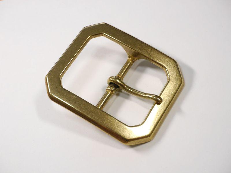 安心 高級 高品質の日本製 100%品質保証 ベルト幅45mm用 重厚八角バックル 馬具職人工房 真鍮無垢 ゴールド ブラス