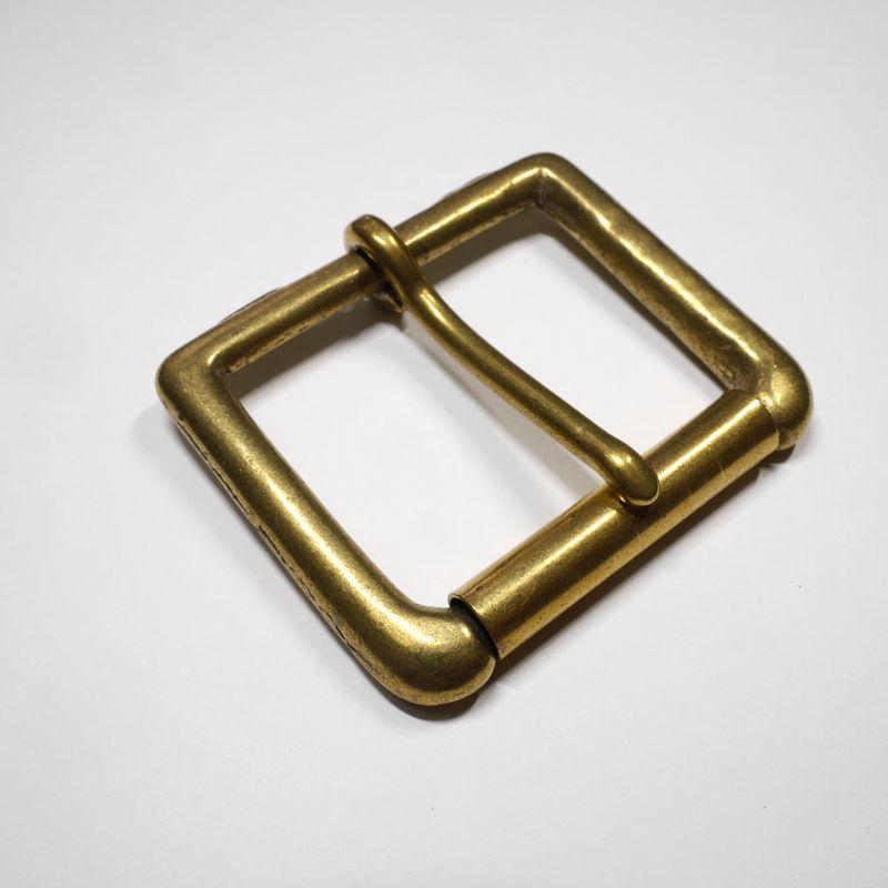 安心 賜物 高品質の日本製 真鍮無垢 ブラス ベルト幅45mm用 回転式ローラー 送料無料(一部地域を除く) 管美錠 馬具職人工房 ゴールド バックル
