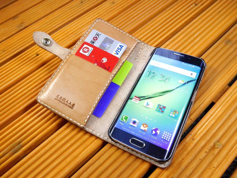 docomoスマートフォン 「Galaxy S7 edge SC-02H」 ギャラクシーs7 専用 手帳型ケース 馬具職人 ハンドメイド 完全一点もの 総手縫い 栃木レザー社  ヌメ本革 ベンズサドルレザー製