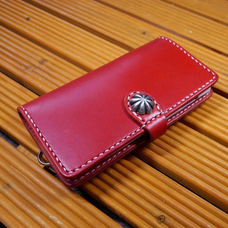 Galaxy Note9 SC-01L / Galaxy Note9 SCV40 ギャラクシーノート9 専用 手帳型 ハンドメイド 完全一点もの 総手縫い 栃木レザー社製 赤革×白(レッド×ホワイト) ベンズサドルレザー製 メンズ レディース 耐衝撃 馬具職人工房 重厚 最高級 カード入れ スマホケース
