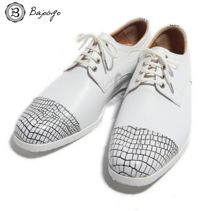 レザースニーカー クロコダイル×スムース ホワイトラインブラック 国産天然皮革 本革 革靴 メンズシューズ BajoLugo バジョルゴ(04-BajoLugo-H1602)