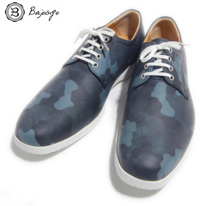 プレーントゥ カモフラージュ ブルー 国産天然皮革 本革 革靴 メンズシューズ BajoLugo バジョルゴ(42-BajoLugo-H1506)