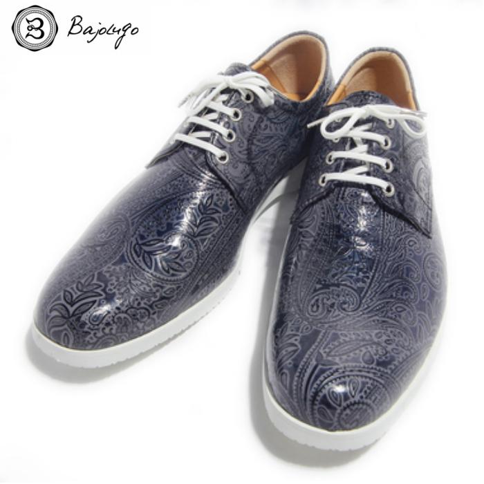 プレーントゥ ペイズリー ダークグレー 国産天然皮革 本革 革靴 メンズシューズ BajoLugo バジョルゴ(37-BajoLugo-H1506)