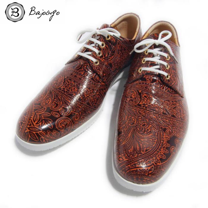 プレーントゥ ペイズリー 絶品 ブラウン 信託 国産天然皮革 本革 34-BajoLugo-H1506 革靴 メンズシューズ BajoLugo バジョルゴ