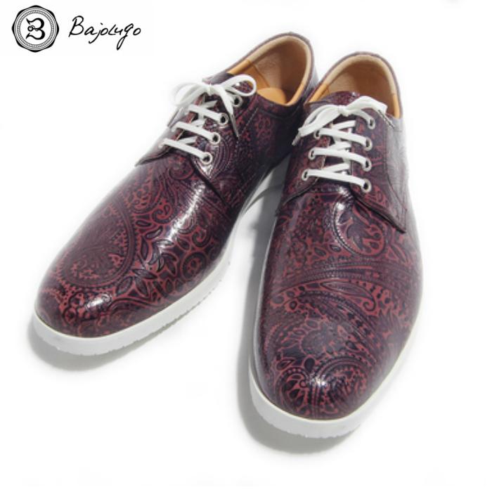 プレーントゥ ペイズリー パープル 国産天然皮革 本革 革靴 メンズシューズ BajoLugo バジョルゴ(38-BajoLugo-H1506)