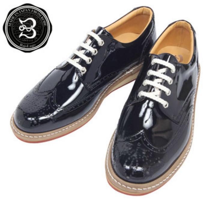 ウィングチップ スニーカー エナメル ブラック 国産天然皮革 本革 革靴 メンズシューズ BajoLugo バジョルゴ(a28s)