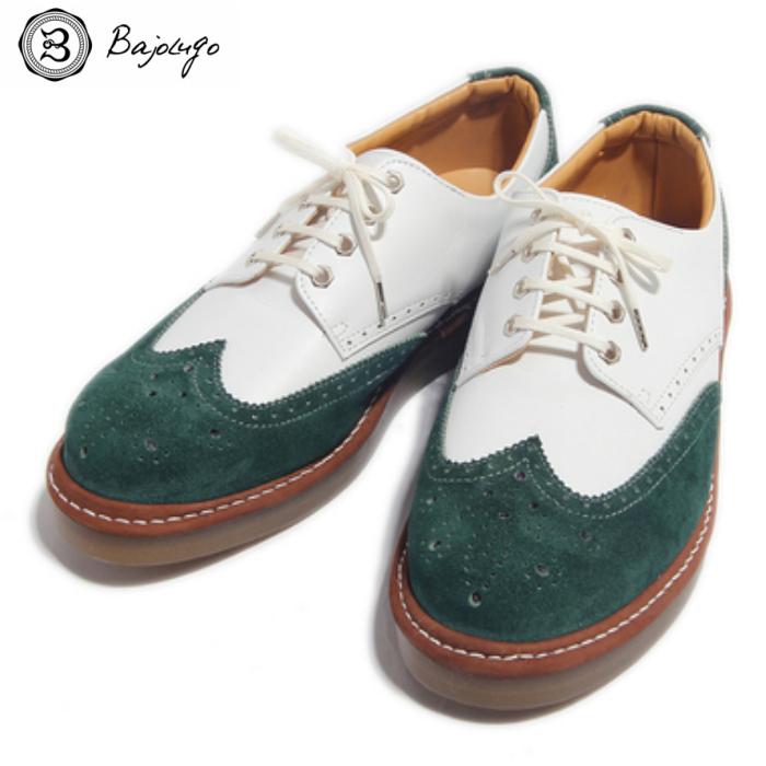ウィングチップレザースニーカー スムースホワイト×ベロアグリーン クレープソール 国産 革靴 紳士靴 牛革 BajoLugo バジョルゴ 11-BajoLugo-H1603