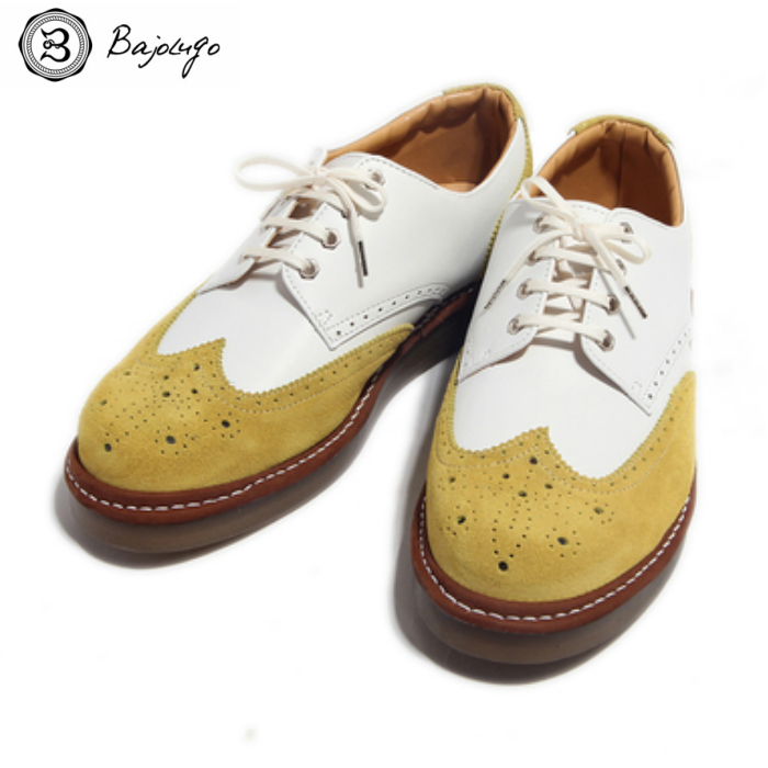 ウィングチップ スニーカー ベロア×スムース マスタード 国産天然皮革 本革 革靴 メンズシューズ BajoLugo バジョルゴ(11-BajoLugo-H1603)