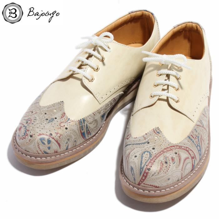 【HEROES5月号掲載アイテム】ウィングチップレザースニーカー ペイズリーベージュ×ムラ染めオフホワイト 国産 革靴 紳士靴 牛革 BajoLugo バジョルゴ No-4-1-1704-08