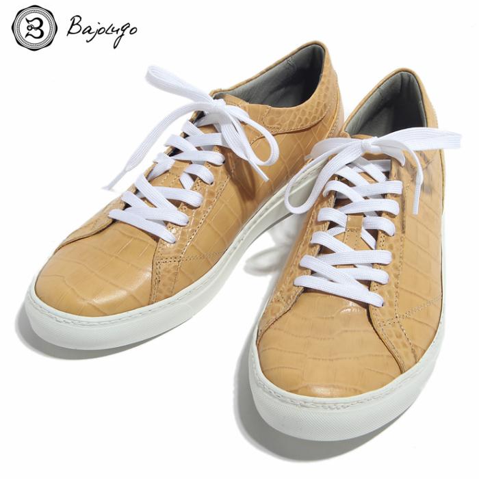 究極のレザースニーカー クロコダイル クリーム 国産天然皮革 本革 革靴 メンズシューズ BajoLugo バジョルゴ(05-BajoLugo-H1609)