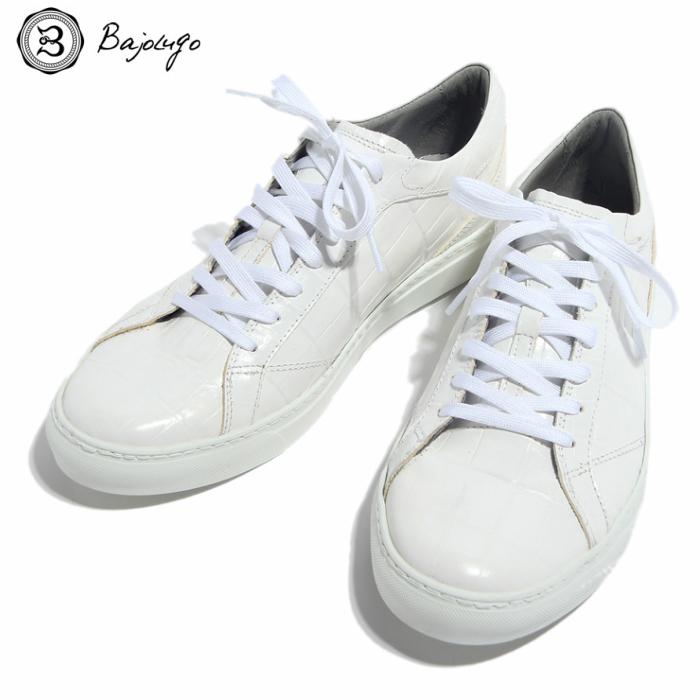究極のレザースニーカー クロコダイル ホワイト 国産天然皮革 本革 革靴 メンズシューズ BajoLugo バジョルゴ(01-BajoLugo-H1609)