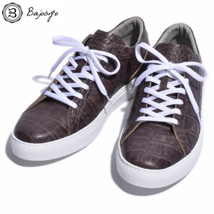 究極のレザースニーカー 公式 クロコダイル ローズグレー 国産天然皮革 本革 BajoLugo 品質保証 メンズシューズ B1-1-1711-14 バジョルゴ 革靴