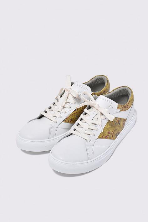 レザースニーカー ペイズリー イエロー 《週末限定タイムセール》 国産天然皮革 本革 物品 BajoLugo 革靴 バジョルゴ メンズシューズ B1-1-2008-02